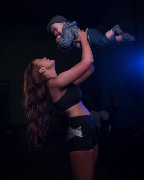 Jacqui Twohig, personal trainer and son Jack.