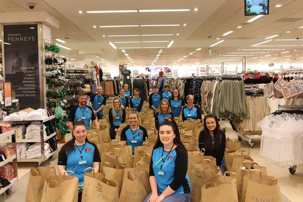 In Cork, volunteers at the Penneys Patrick's Street and Wilton Shopping Centre stores packaged over 400 care packs for donation to Cork University Hospital and the Mercy University Hospital.