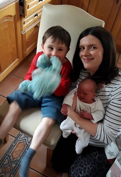 Noreen Forde with JJ and her newborn.