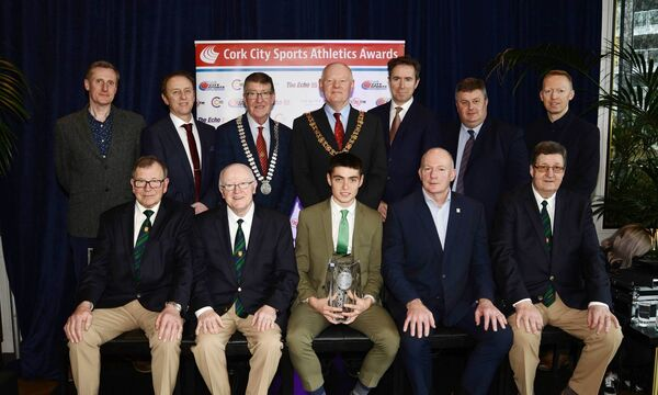 Darragh McElhinney, Bantry AC is the Cork City Sports Athlete of the Year for 2019. At the River Lee Hotel at the awards were seated: Frank Walley, Tony O'Connell, Hamish Adams CEO Athletics Ireland and Terry O'Rourke. Standing: George Duggan, Cork Crystal, Eoghan Dinan, Deputy Editor, The Echo, Cllr Ian Doyle, Cork County Mayor, Lord Mayor, Cllr John Sheehan, Ruairí O'Connor, GM The River Lee, Kieran McGeary CEO 96FM/C103, and Mark McManus, Business Development Manager Leisureworld. Picture: Martin Collins, Europhoto.
