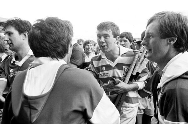 Ger Cunningham with supporters after the Rebels' win over Galway in 1986.