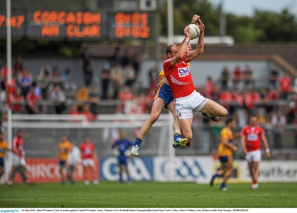 Alan O'Connor, Cork, in action against Cathal O'Connor, Clare, in the 2015 championship, when he came out of retirement and had a major impact. Picture: Eoin Noonan/SPORTSFILE