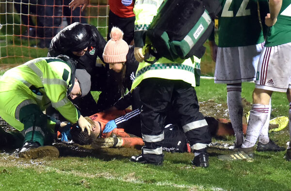 Cork City goalkeeper Liam Bossin is tended to by medical staff on Friday night. Picture: Eddie O'Hare