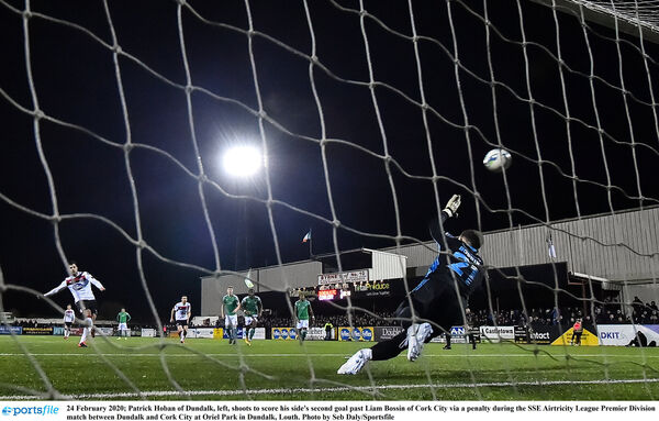 Patrick Hoban of Dundalk, left, shoots to score his side's second goal past Liam Bossin last week. Picture: Seb Daly/Sportsfile