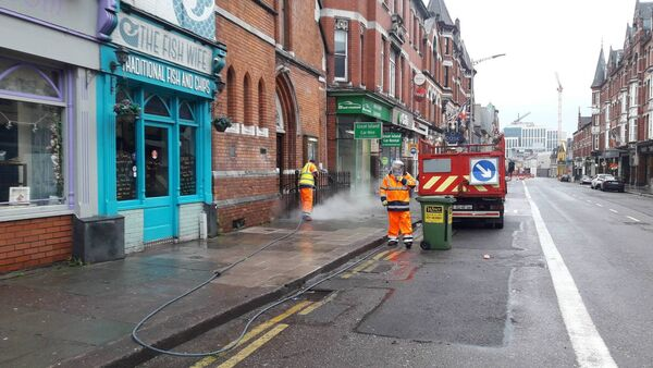 A deep clean of city centre streets has begun
