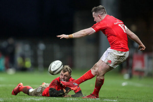 Munster's JJ Hanrahan kicks a conversion against Scarlets. Picture: INPHO/Laszlo Geczo