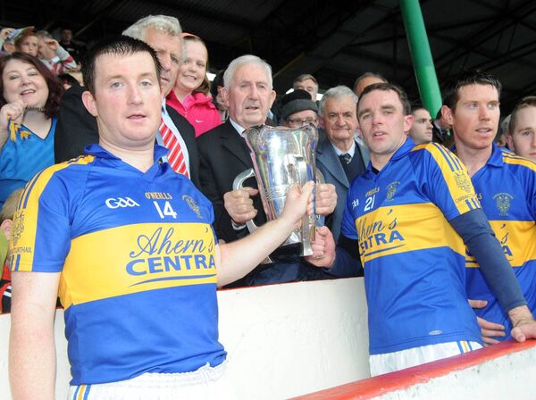 Carrigtwohill captains Michael Fitzgerald, scorer of six points against CIT, and Brian Lordan with Willie John Daly. Picture: Eddie O'Hare