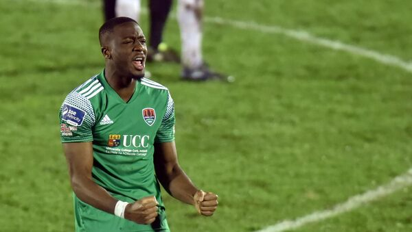 Cork City's Joseph Olowu shows his delight at the final whistle against Finn Harps. Picture: Eddie O'Hare