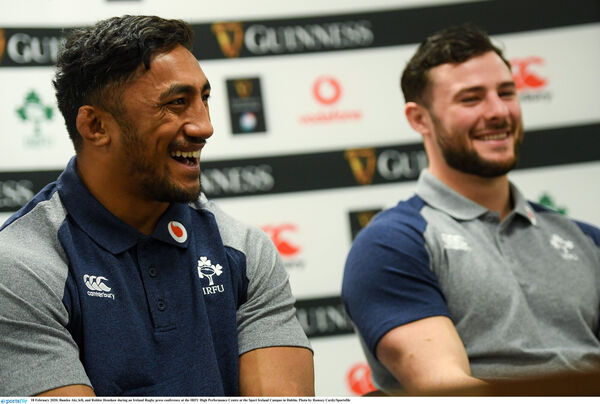 Bundee Aki, left, and Robbie Henshaw. Picture: Ramsey Cardy/Sportsfile