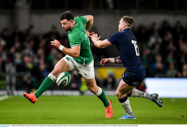 Robbie Henshaw of Ireland in action against Stuart Hogg of Scotland. Picture: Seb Daly/Sportsfile