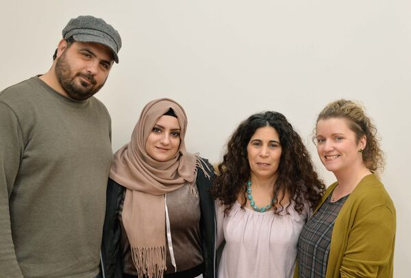 Ahmad Hazimeh and Rawan Kateb (on left) pictured in the Taylor Centre, Carrigtwohill, Co. Cork, with Rola Abu Zeid O'Neill (third from left) and Teresa Ryan both of Carrigtwohill Community Sponsorship Group.Picture Denis Minihane.