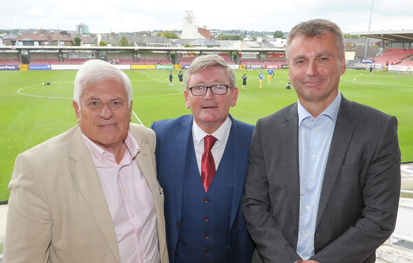 Bob Donovan, centre, Cobh Ramblers and Peter Ridsdale and Craig Hemmings, both Preston NE, attending the Cobh Ramblers v Preston North End friendly, at Turner's Cross.Picture: David Keane.