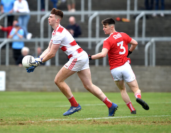Cork's Josh O'Keeffe and Maurice Shanley in action last August. Picture: Eddie O'Hare