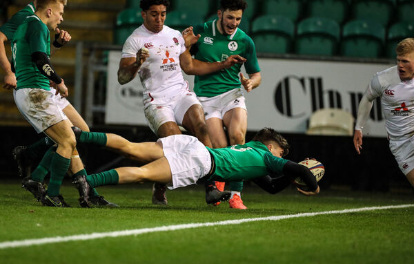 Ireland's Max O'Reilly scores a try. Picture: INPHO/Billy Stickland