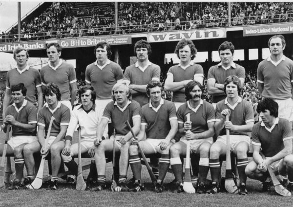 Cork failed in their four-in-a-row bid when defeated by Galway in the 1979 semi-final. Back: Tim Crowley, Ray Cummins, Martin O'Doherty, Jimmy Barry-Murphy, Johnny Crowley, Brian Murphy, Denis Coughlan. Front: Charlie McCarthy, Tom Cashman, Martin Coleman, John Horgan, Pat Moylan, Gerald McCarthy, Dermot McCurtain, John Fenton.