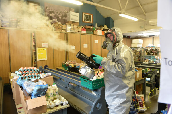 James Murphy-Stout working with Sanitise Ireland giving a deep clean to Cork Penny Dinners. Picture Dan Linehan
