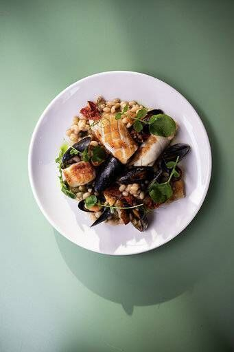 Aishling Moore's Fish with mussels and watercress. Picture: Clare Keogh