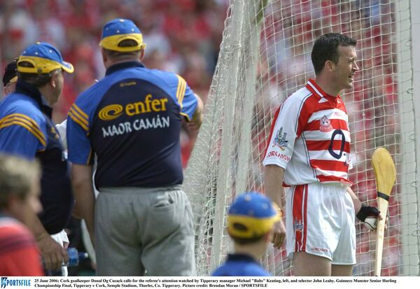 Cork goalkeeper Donal Og Cusack calls for the referee's attention watched by Tipperary manager Michael 'Babs' Keating, who was a dual player for the his county. Picture: Brendan Moran/SPORTSFILE