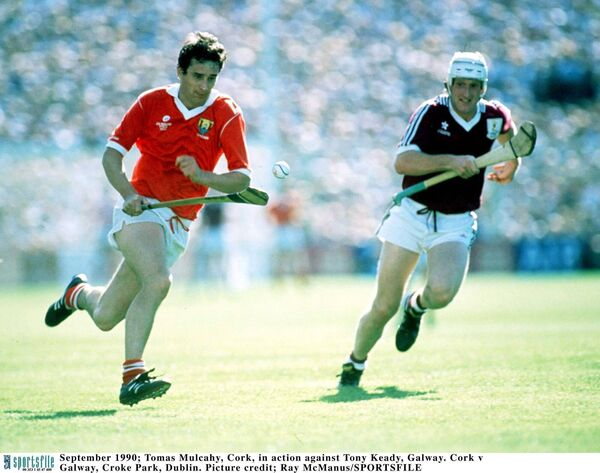 Cork captain Tomás Mulcahy bursts away from Tony Keady, Galway, in the 1990 All-Ireland final at Croke Park. Picture: Ray McManus/SPORTSFILE