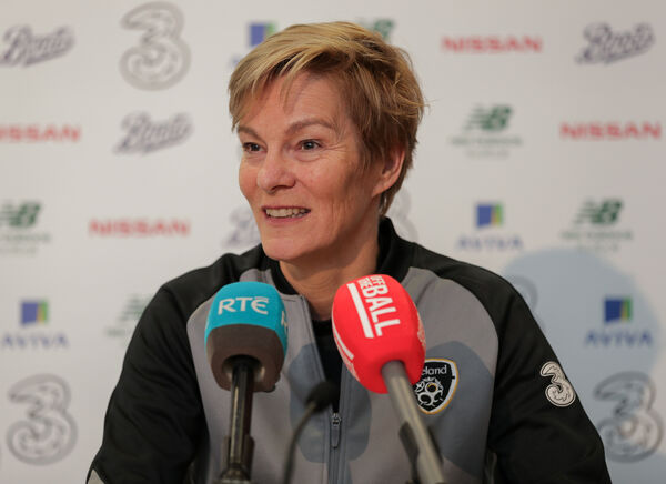 Republic of Ireland manager Vera Pauw talks to the media. Picture: INPHO/Brian Reilly-Troy