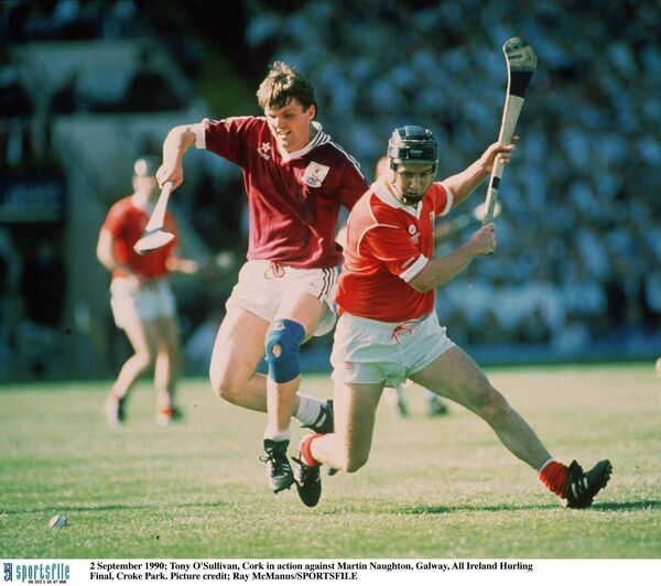 Tony O'Sullivan, Cork, in action against Martin Naughton, Galway, in the 1990 All-Ireland hurling final. Picture: Ray McManus/SPORTSFILE