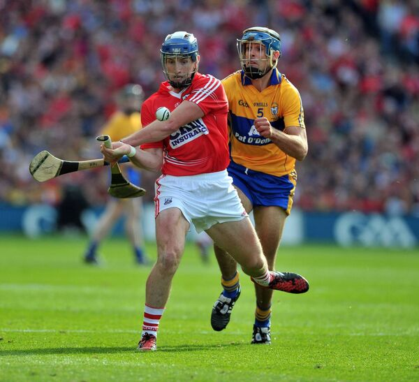 Patrick Horgan somehow avoiding a hook to score a late point in the 2013 final. Picture: Eddie O'Hare