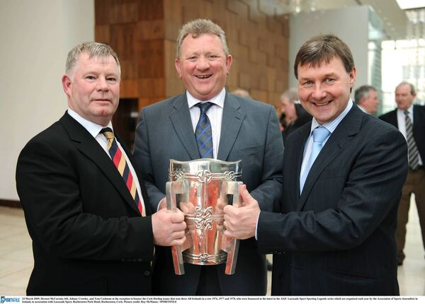 Brilliant former Cork hurling half-backs Dermot McCurtain, Johnny Crowley, and Tom Cashman. Picture: Ray McManus/SPORTSFILE