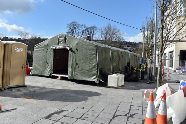 Army tents in place at the Mercy University hospital , in case of emergency during the current Covid-19 Pandemic Picture: Eddie O'Hare