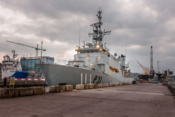 LÉ Eithne berthed alongside the new Navagation Square building in the city centre.