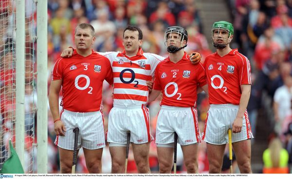 Diarmuid O'Sullivan, Donal Óg Cusack, Shane O'Neill and Brian Murphy stand together in 2008. Picture: Stephen McCarthy/SPORTSFILE