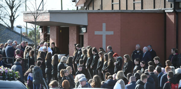 The remains of Kimberly O'Connor are brought from the church after the funeral mass for Kimberly O'Connor who died in a car accident last week.