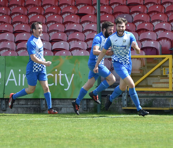 SCS Crookstown's Liam O'Sullivan celebrates his goal against OBS in the Cork Business League First Division final at Turner's Cross last May. Picture: Eddie O'Hare