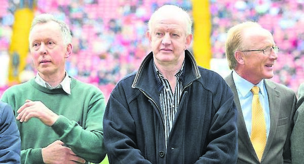 Dave McCarthy, Declan Barron, and Ned Kirby of the Cork All-Ireland football winning team of 1973 who were honoured at the 2013 Cork county senior football final.