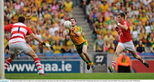 Mark McHugh fists a point. Picture: Tomas Greally/SPORTSFILE