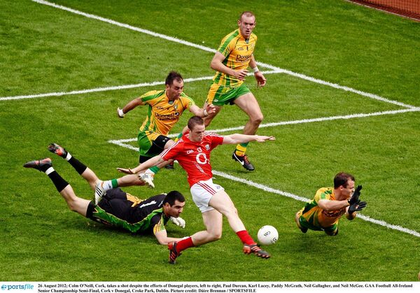Colm O'Neill hits the crossbar at a key stage. Picture: Dáire Brennan/SPORTSFILE
