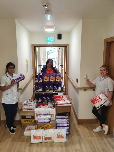 Pictured (l-r) with the delivery are Cramers Court Nursing Home's Clinical Nurse Manager, Renkitha Jose; Person in Charge, Raquel Yap; and Activities Coordinator, Teresa O'Donovan. Photo credit: Cramers Court Nursing Home,