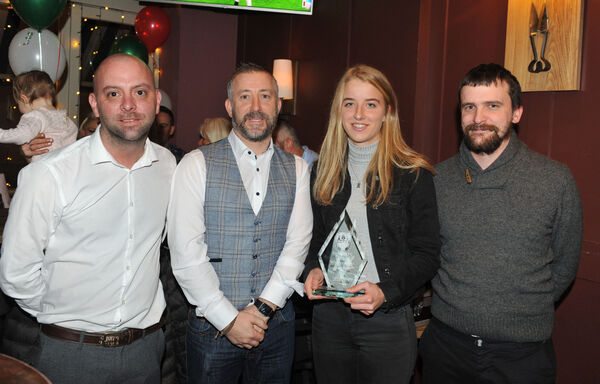Senior Women's Player of the Year winner Christina Dring with (from left) Michael McCarthy, Paddy The Farmers, Gar Fleming of sponsors Audivox Hearing and Ronan Collins. Picture: Larry Cummins.