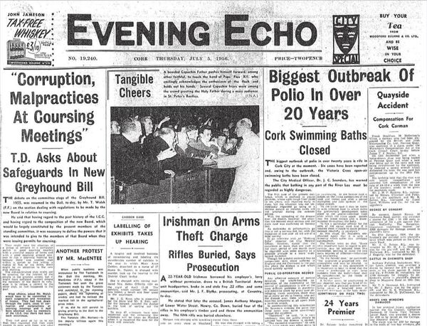 The front page of the Evening Echo on July 5, 1956 reporting on the polio outbreak in the city.