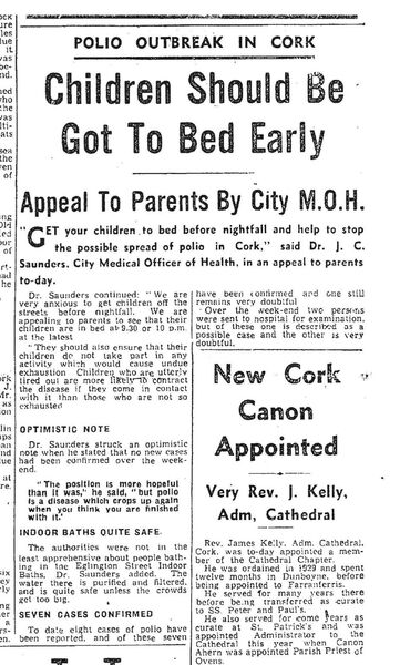 The front page of the Evening Echo on 9 July, 1956. Cork parents were urged to have their children in bed by 10pm at the latest to prevent the spread of polio.