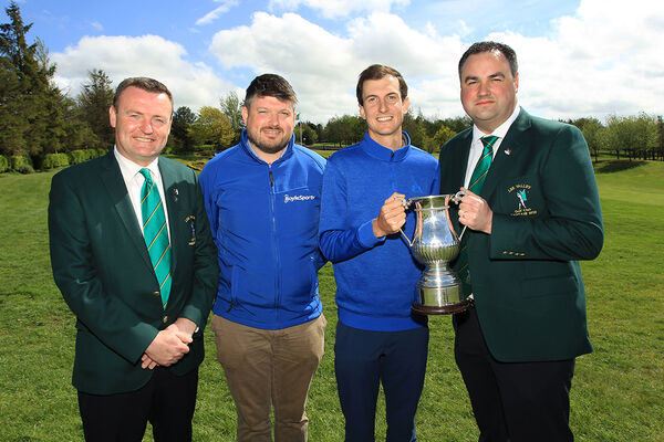 Massereene's Tiarnan McLarnon won the 2019 Lee Valley Scratch Cup pcitured with Chris O'Sullivan, Captain. Also included are Pat Mullins, President and Peter Tuite from sponsors Boylesports. Picture: Niall O'Shea