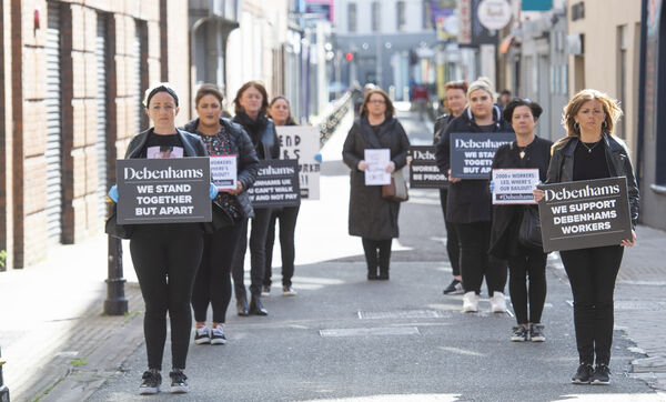 Former staff at Debenhams protest outside the store on Maylor Street, Cork. Included are Erica O'Mahony, Madeline Whelan, Grace Hall, Valerie Conlon, Deirdre Power, Sarah Gleeson, Claire O'Leary, Gillian McSweeney and Amanda Lyons. Picture Dan Linehan