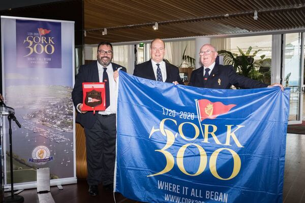 Colin Morehead, Chair of Cork300, HSH Prince Albert II, and Pat Farnan, Admiral of the Royal Cork Yacht Club.