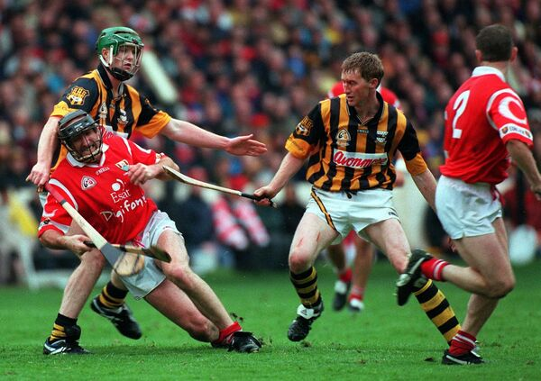 Cork's Brian Corcoran taking on Kilkenny in 1999. Picture: Dan Linehan