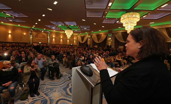 Mary Lou McDonald TD speaking to the very large crowd.Picture: Jim Coughlan.