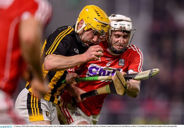 Ollie Walsh of Kilkenny in action against Tim O'Mahony of Cork last year. Picture: Stephen McCarthy/Sportsfile