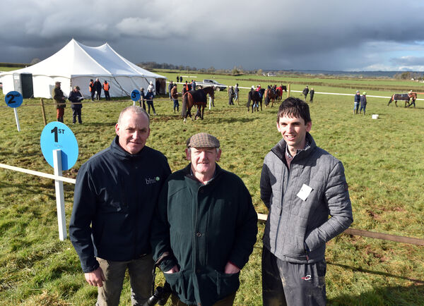 Liam Fennessy, trainer Fermoy; Bobby Sheehan assistant trainer and Edmond Moakley, committee. Picture: Eddie O'Hare