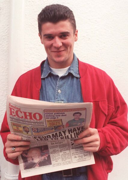 Roy Keane reads the Echo in Nottingham back in 1991. Picture: Eddie O'Hare