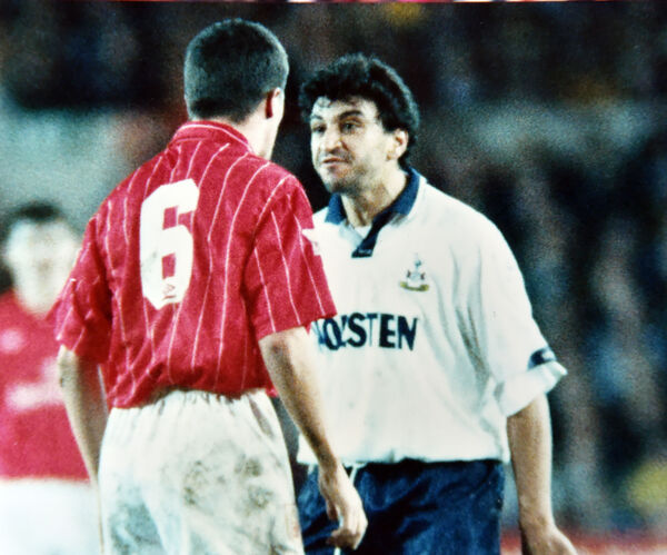 Roy Keane playing for Nottingham Forest has words with Spurs' Nayim in a Coca Cola Cup game. Picture: Eddie O'Hare