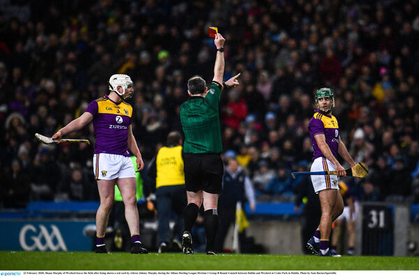 Shaun Murphy of Wexford leaves the field after being shown a red card by referee Johnny Murphy. Picture: Sam Barnes/Sportsfile