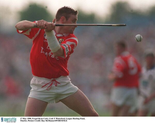 Fergal Ryan clears the sliotar for Cork against Waterford in the 1998 Hurling League final in Thurles. Picture: Ray McManus/SPORTSFILE